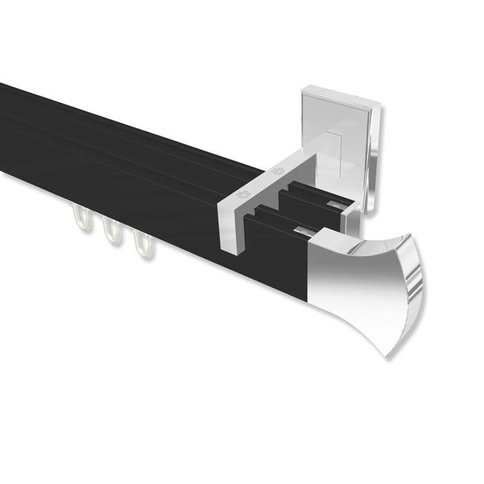 eckige gardinenstange mit innenlauf in schwarz chrom. Black Bedroom Furniture Sets. Home Design Ideas