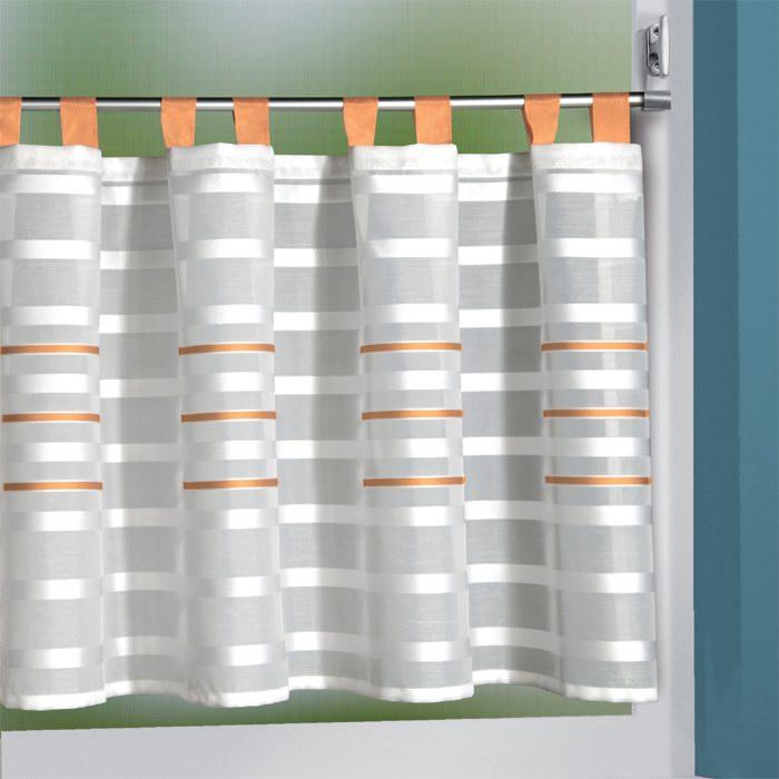 scheibengardinen mit schlaufen 140x50 cm in wei mit gr n blau rot orange ebay. Black Bedroom Furniture Sets. Home Design Ideas
