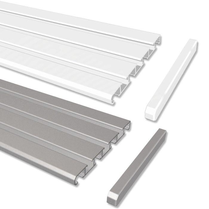 gardinenschienen alu schienen in aluminium wei o alufarbig 3 u 4 l ufig ebay. Black Bedroom Furniture Sets. Home Design Ideas
