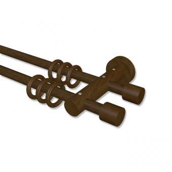 Gardinenstange Holz 16 mm Ø 2-läufig ADRIAN - Pin Nussbaum lackiert 120 cm
