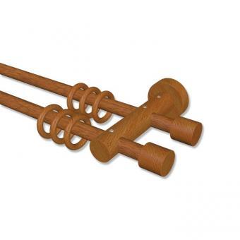 Gardinenstange Holz 16 mm Ø 2-läufig ADRIAN - Pin Kirschbaum lackiert 180 cm