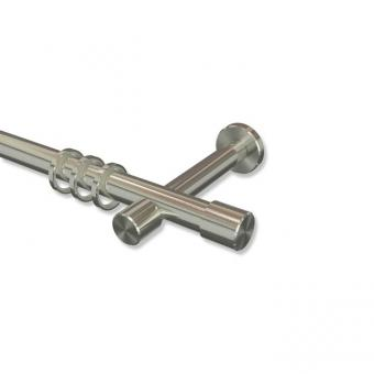 Gardinenstange Edelstahl-Optik 20 mm Ø PRESTIGE - Santo 100 cm