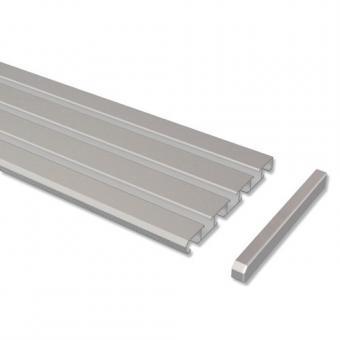Gardinenschiene Aluminium 3- / 4-läufig SLIMLINE Silbergrau 100 cm
