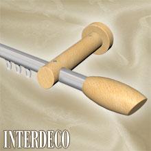 Moderne Formen auch bei Innenlaufstangen aus Aluminium und Holz.