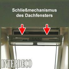 Schließmechanismus eines Dachfensters.